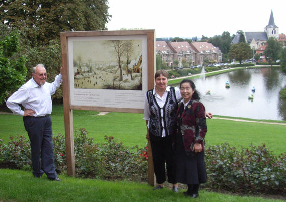 One of the Bruegel reproductions in Dilbeek, with Bruegel expert Professor Yoko Mori, whom I was fortunate enough to interview for a newspaper article on Bruegel