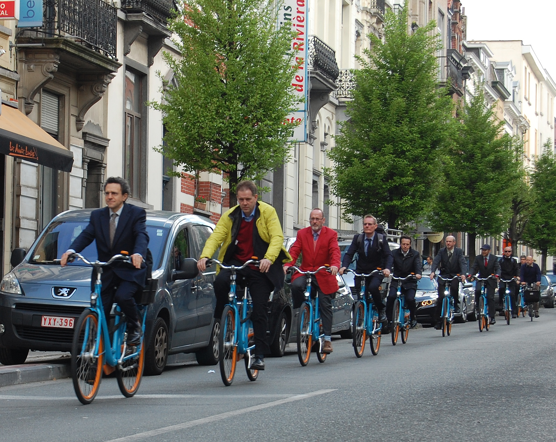 1. Blue bike convoy in Brussels