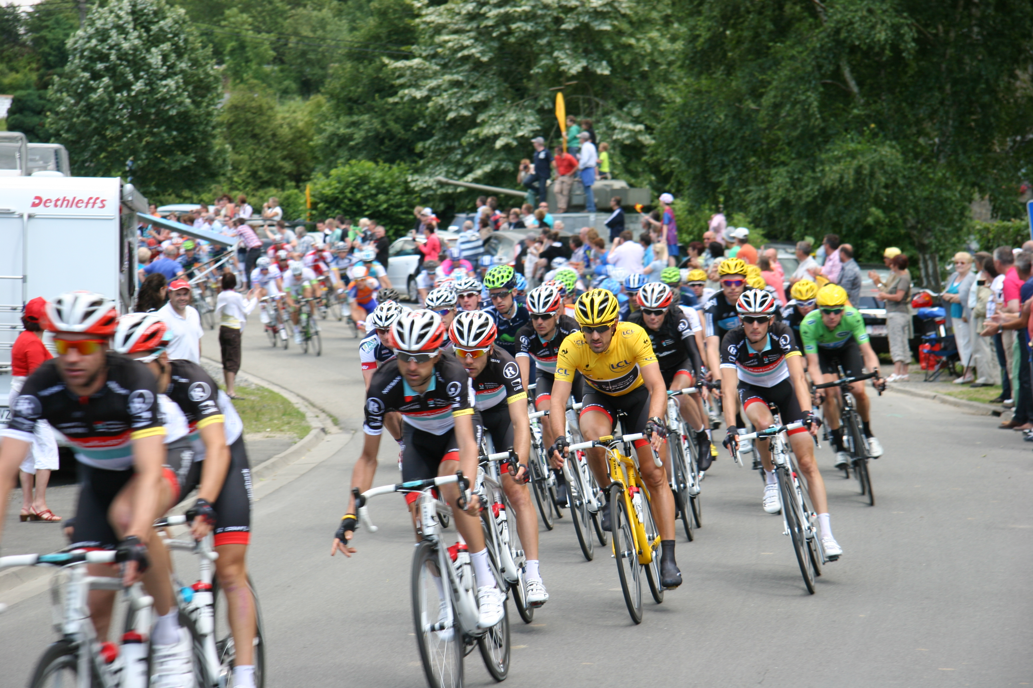 The 2012 Tour de France stage 1 in Hotton, Belgium. Fabian Cancellara in the yellow shirt.