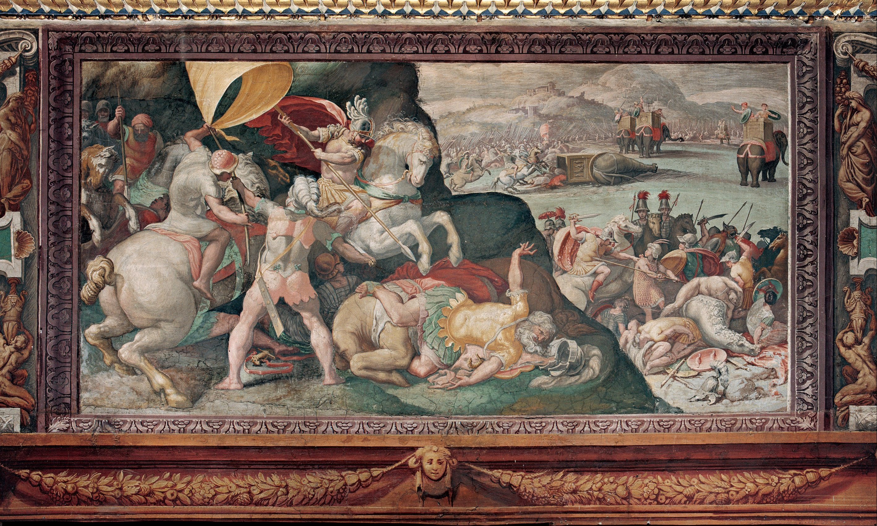 """Part of """"The Battle of Zama"""" tapestry, which depicts in almost 3D the victory of the Roman general Scipio Africanus over Hannibal."""