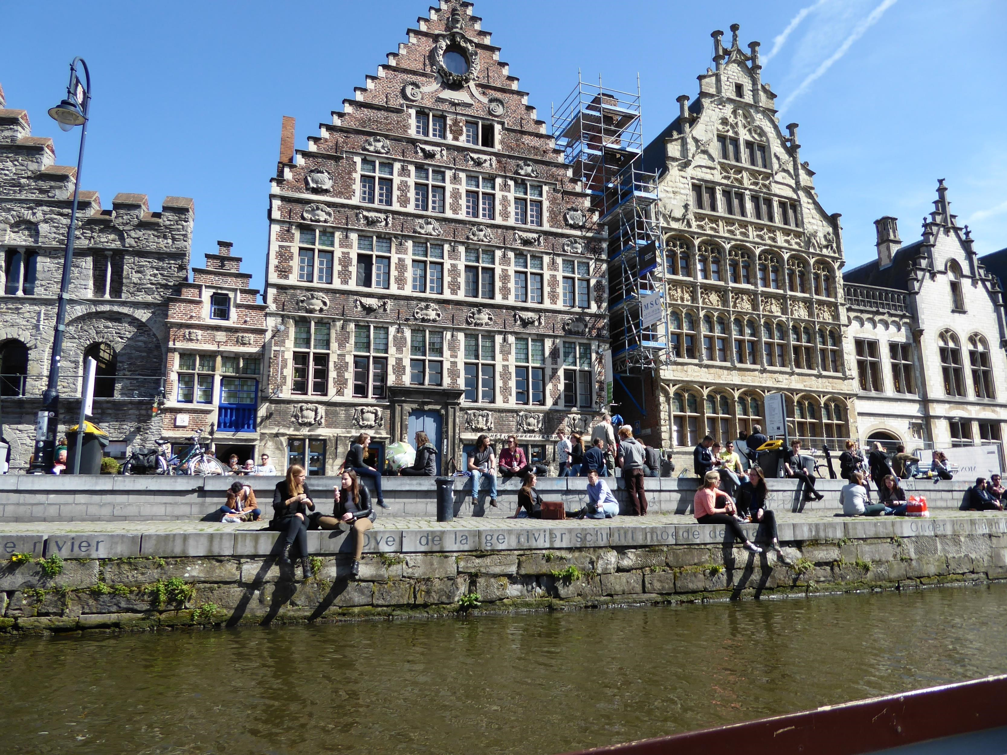 The famous Graslei along the River Leie in Gent