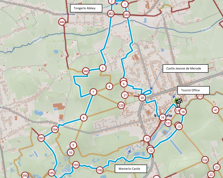 Map of walking around Westerlo