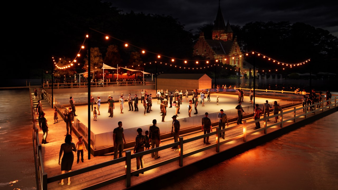 Winter eco ice rink in Bruges Belgium
