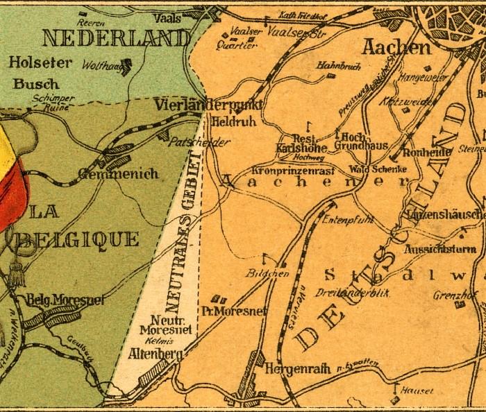 Map of Moresnet Belgium
