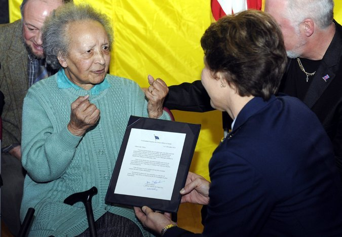 Augusta Chiwy is recognized by her hometown as a Bastogne Citizen of Honor