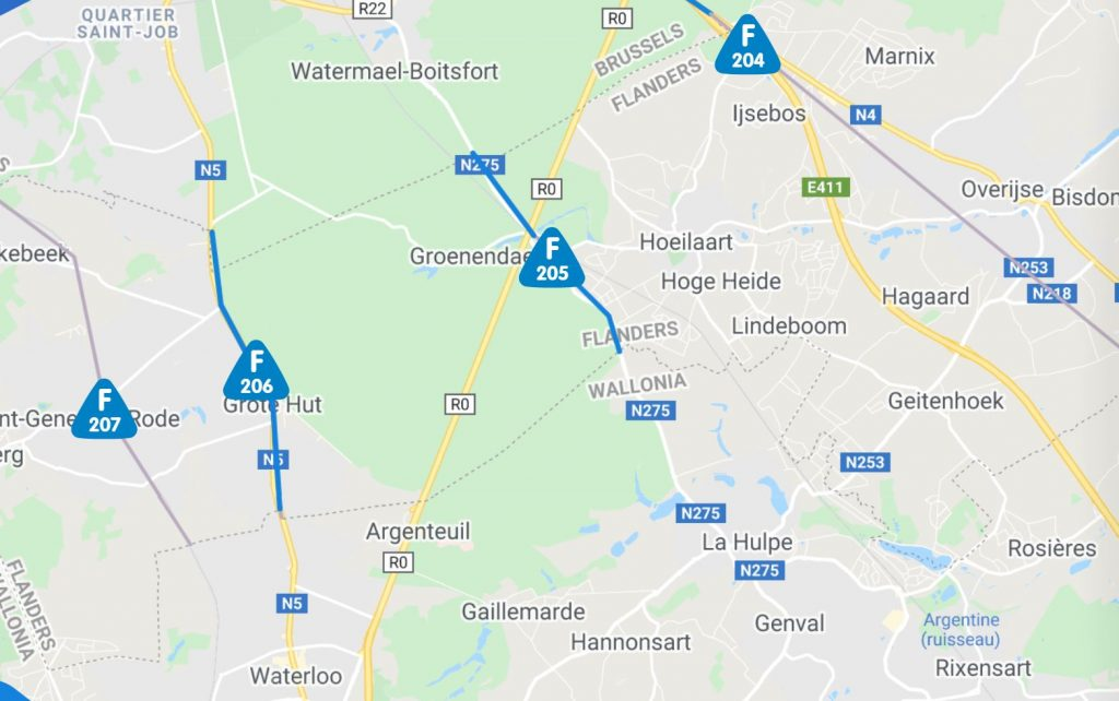 Cycling into Brussels from Wallonia